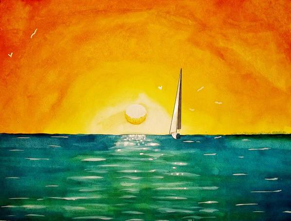 Impressionistic Sailboats Painting - Headed Home by Kyle  Brock