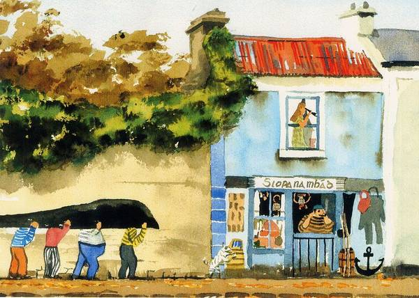 Painting - Heading For A Pint by Val Byrne