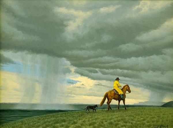 Horseman Wall Art - Painting - Heading Home by Paul Krapf