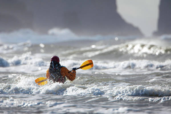 Kayak Photograph - Heading Out At The La Push Pummel by Gary Luhm