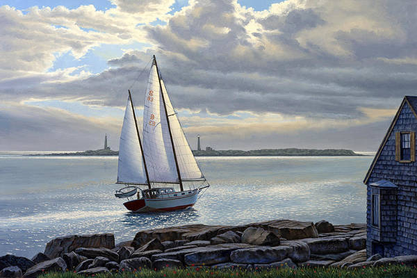 Harbor Wall Art - Painting - Heading Out-close Hauled     by Paul Krapf