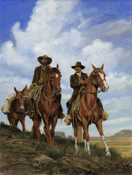 Frontier Wall Art - Painting - Two Men Packing - Big Sky by Don  Langeneckert