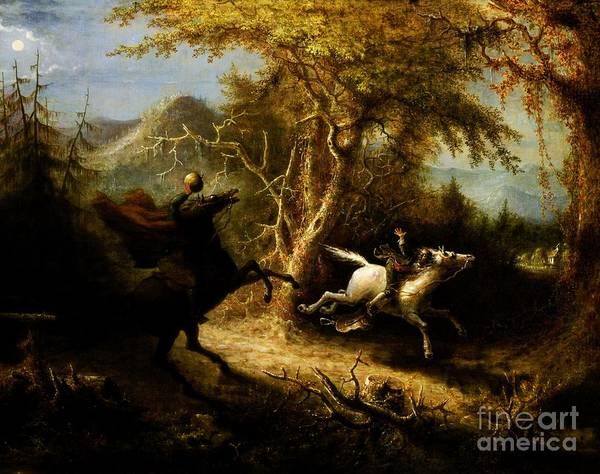 Horseman Wall Art - Painting - Headless Horseman Pursuing Ichabod Crane by Pg Reproductions
