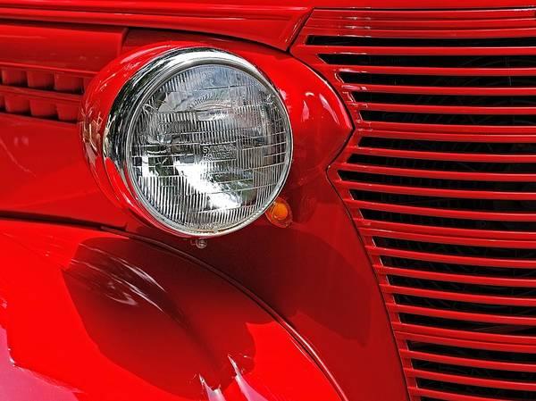 Headlight On Red Car Art Print