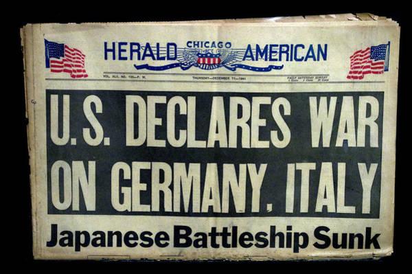 Wall Art - Photograph - Headlines Ww II Us Declares War by Thomas Woolworth