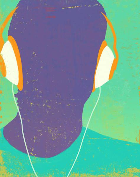 Men Digital Art - Headphones Silhouette by Don Bishop