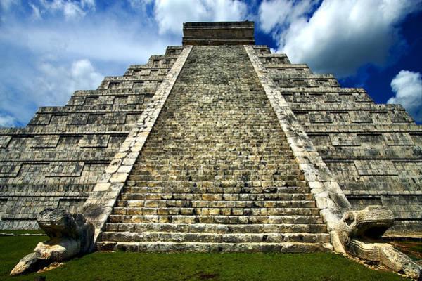 Kukulcan Photograph - Heads In Chichen Itza by Luca Mason