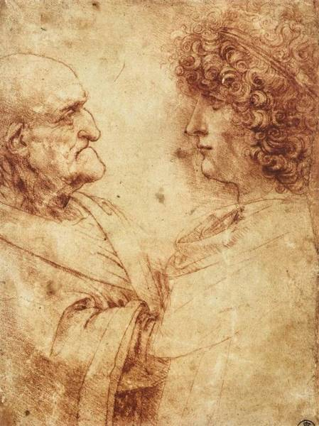 Galleria Painting - Heads Of An Old Man And A Youth by Leonardo da Vinci