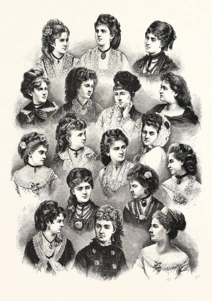 Hairdo Drawing - Heads Of The Fair Sex by English School
