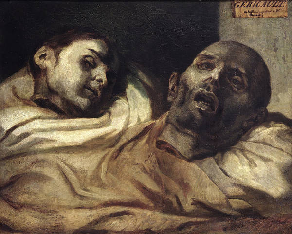 Wall Art - Painting - Heads Of Torture Victims, Study For The Raft Of The Medusa  by Theodore Gericault