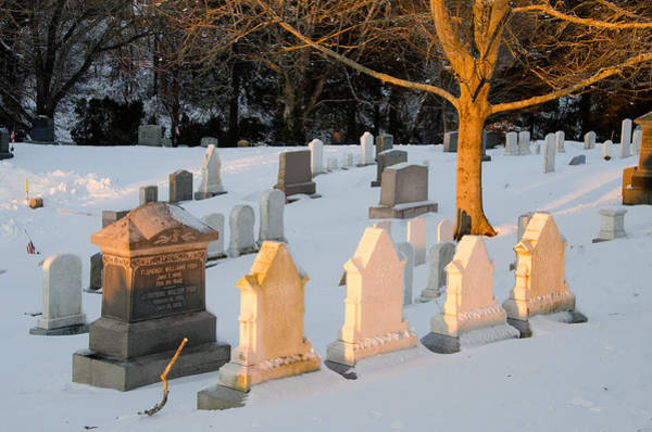 Photograph - Headstones In Winter 3 by Jennifer Kano