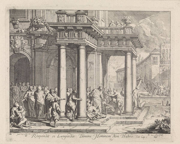 Healing Drawing - Healing At The Pool Of Bethesda, Richard Van Orley by Quint Lox