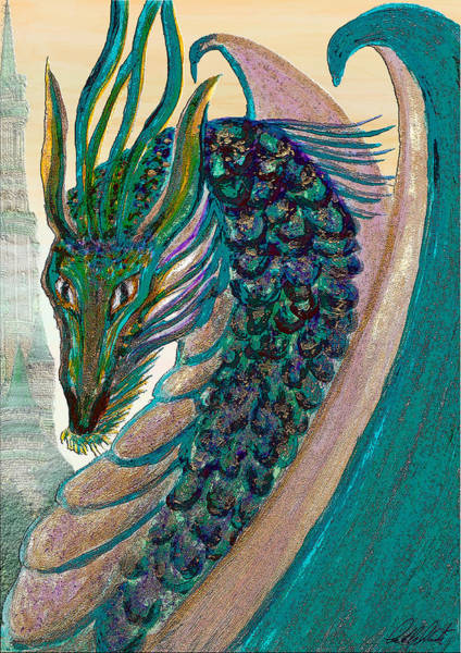 Celtic Mythology Wall Art - Painting - Healing Dragon by Michele Avanti