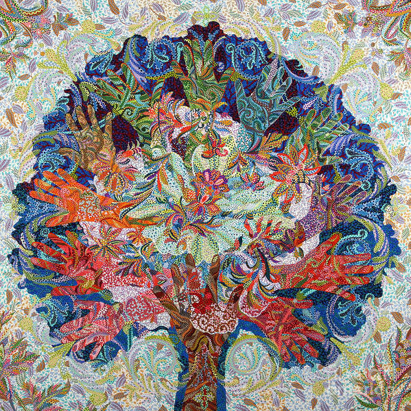Blooming Tree Painting - Healing Hands by Erika Pochybova