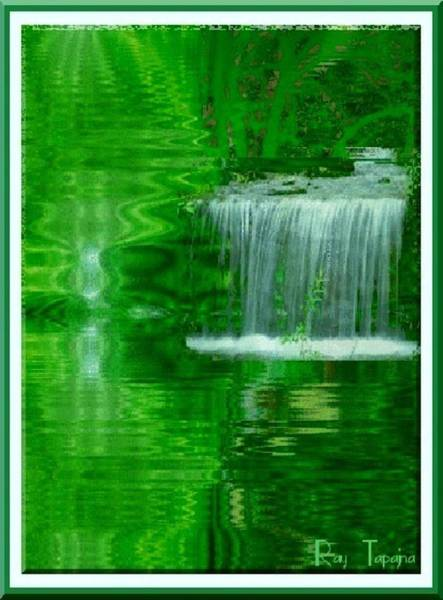 Healing In Green Waters Art Print by Ray Tapajna