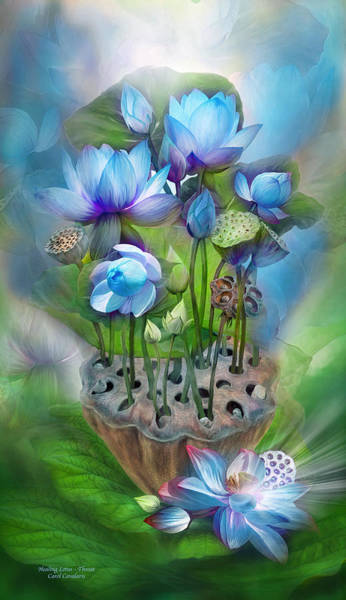 Mixed Media - Healing Lotus - Throat by Carol Cavalaris