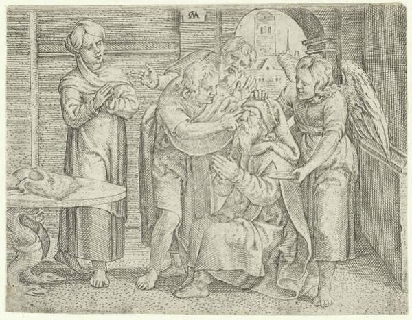 Healing Drawing - Healing Of Tobit, Cornelis Massijs by Cornelis Massijs