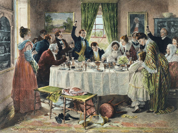 Feast Painting - Health To The Bride, Published 1933 by Walter Dendy Sadler