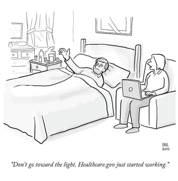 Wall Art - Drawing - Healthcaregov Just Started Working by Paul Noth