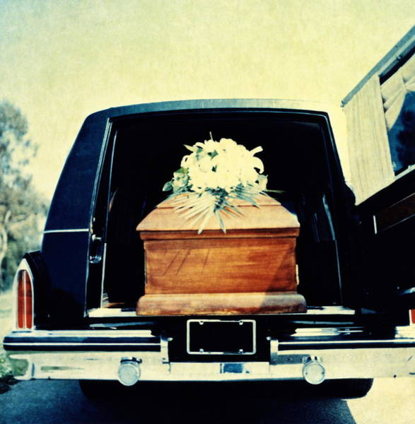 Hearse With Coffin Coming Out Of Back Art Print by Walter B. McKenzie