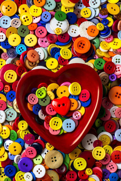 Wall Art - Photograph - Heart Bowl With Buttons by Garry Gay