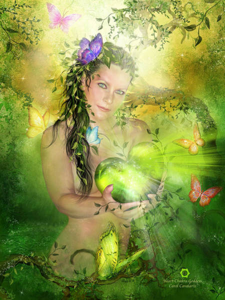 Mixed Media - Heart Chakra Goddess by Carol Cavalaris