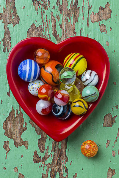 Shooters Wall Art - Photograph - Heart Dish With Marbles by Garry Gay