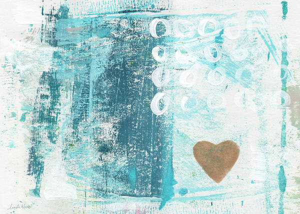 Blue Heart Wall Art - Painting - Heart In The Sand- Abstract Art by Linda Woods
