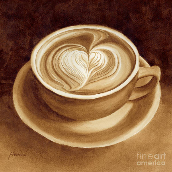 Mocha Painting - Heart Latte II by Hailey E Herrera