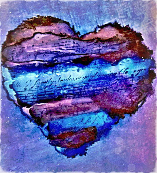 Painting - Heart Love Music Alcohol Inks  by Danielle  Parent