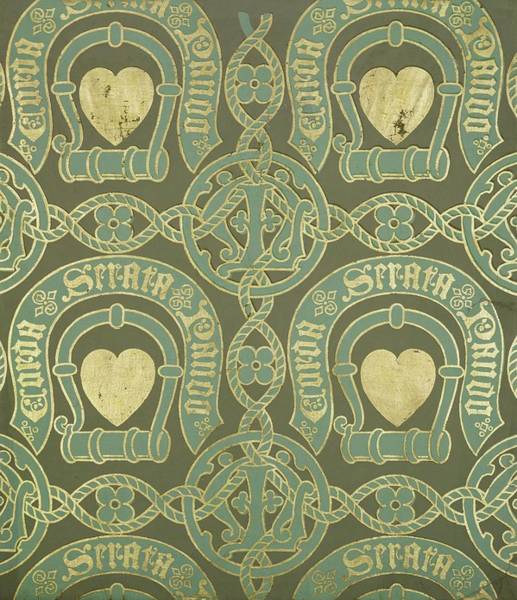 Heart Gold Painting - Heart Motif Ecclesiastical Wallpaper by Augustus Welby Pugin
