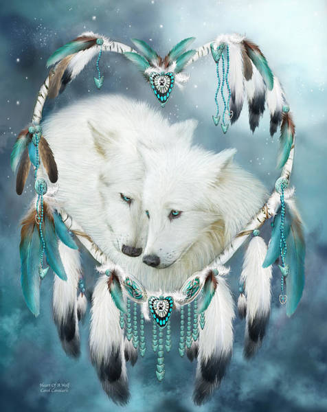 Native Mixed Media - Heart Of A Wolf by Carol Cavalaris