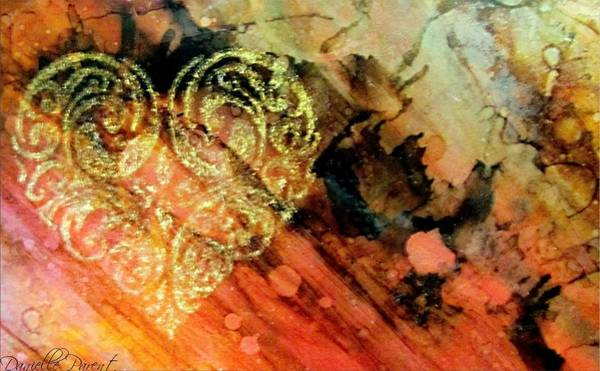 Alcohol Ink Photograph - Heart Of Gold Glow Alcohol Inks by Danielle  Parent