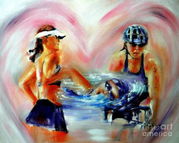 Bicyclist Wall Art - Painting - Heart Of The Triathlete by Sandy Ryan