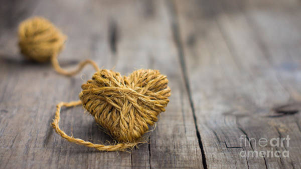 Engage Wall Art - Photograph - Heart Out Of String by Aged Pixel