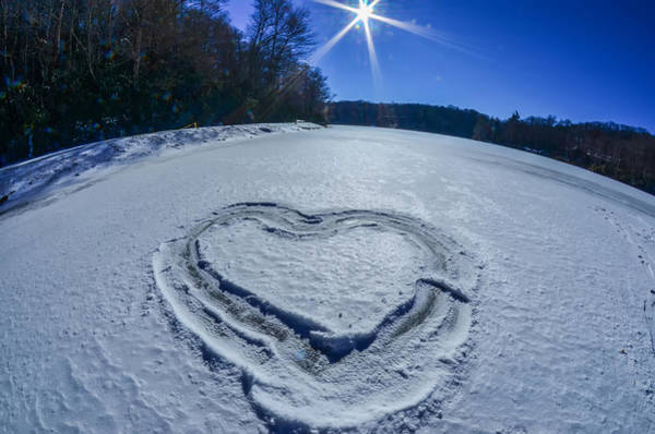 Photograph - Heart Outlined On Snow On Topw Of Frozen Lake by Alex Grichenko