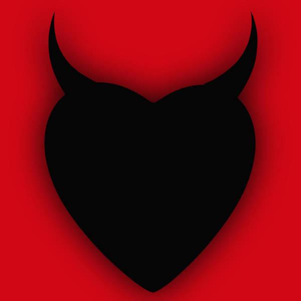 Painting - Heart Series Love Black Devil Horns by Tony Rubino
