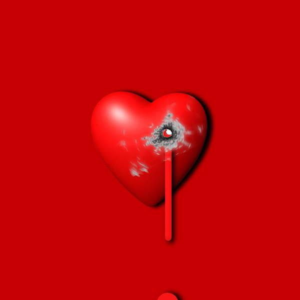 Painting - Heart Series Love Bullet Holes by Tony Rubino