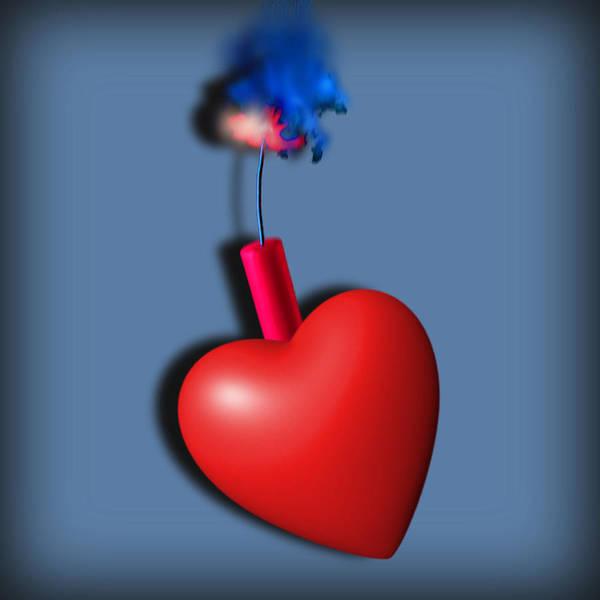 Painting - Heart Series Love Dynamite by Tony Rubino