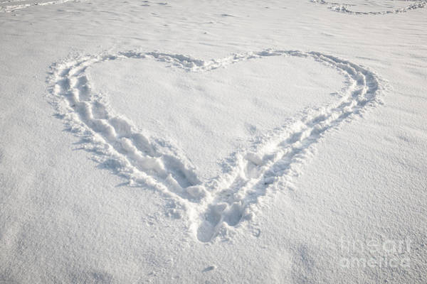 Photograph - Heart Shape In Snow by Elena Elisseeva