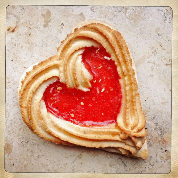 Red Wall Art - Photograph - Heart Shaped Cookie Square Format by Matthias Hauser