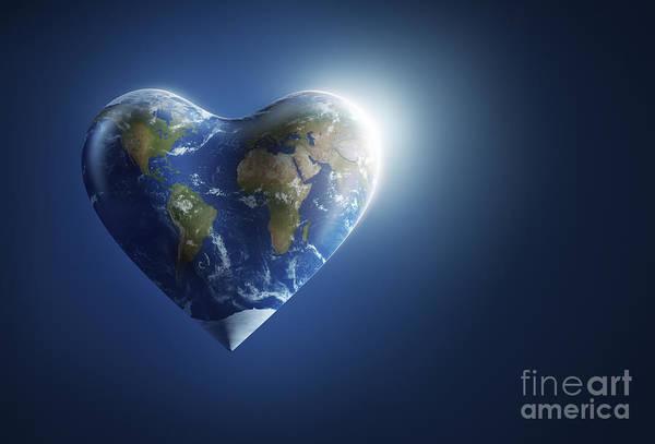 Digital Art - Heart-shaped Planet Earth On A Dark by Evgeny Kuklev