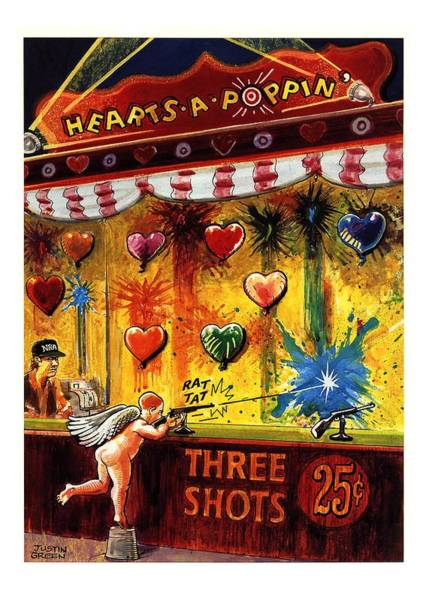Shooting Drawing - Hearts-a-poppin' by Justin Gree