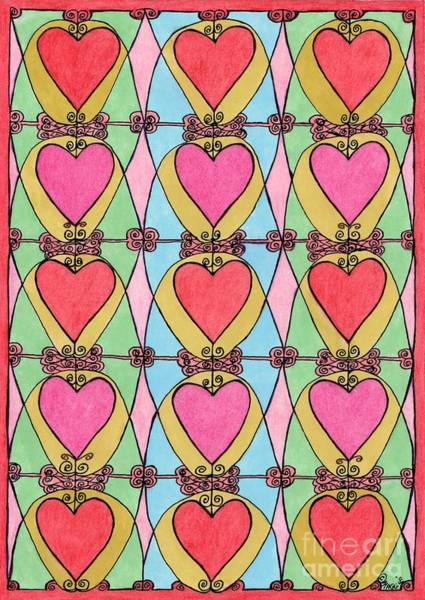 Leaded Glass Painting - Hearts A'la Stained Glass by Maggie Pringle