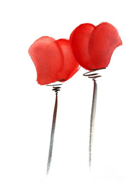 Wedding Invitation Wall Art - Painting - Hearts Heart Vine Glasses Vedding Valentine Day Invitation Flowers Pink Orange Red Heart Flower Gicl by Johana Szmerdt