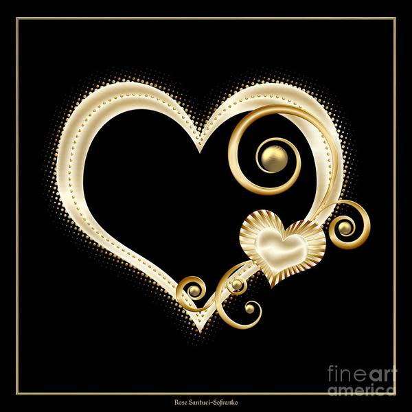 Digital Art - Hearts In Gold And Ivory On Black by Rose Santuci-Sofranko