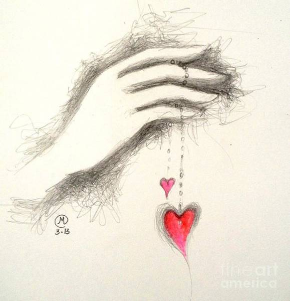 Drawing - Hearts In Hand by Marat Essex