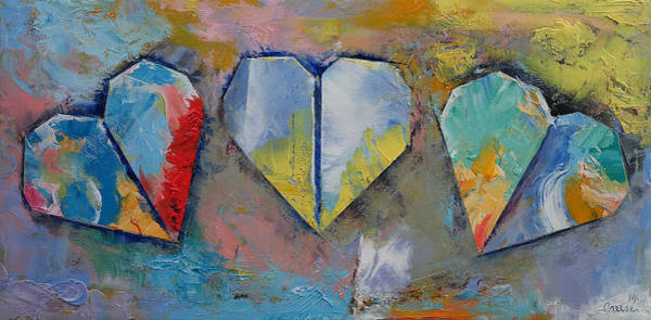 Oil Pastel Painting - Hearts by Michael Creese