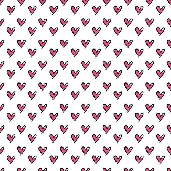 Valentines Digital Art - Hearts Seamless Pattern. Cute Doodle by Bubushonok