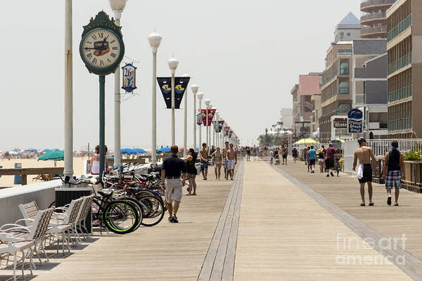 Heat Waves Make The Boardwalk Shimmer In The Distance Art Print
